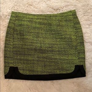 GORGEOUS J Crew bright green tweed mini skirt NWOT
